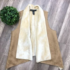 INC Faux Fur Vest Petites Medium